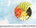 Poke bowl on colorful background 48032990