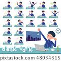 flat type school boy Blue jersey_desk work 48034315