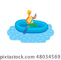 Man in Hat Swimming on Inflatable Rubber Boat 48034569