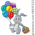 Easter bunny with balloons image 1 48035322