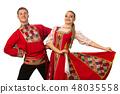 Caucasian couple dancing in Russian folk costumes  48035558
