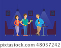 People Relaxing and Drinking Alcohol in Pub Vector 48037242