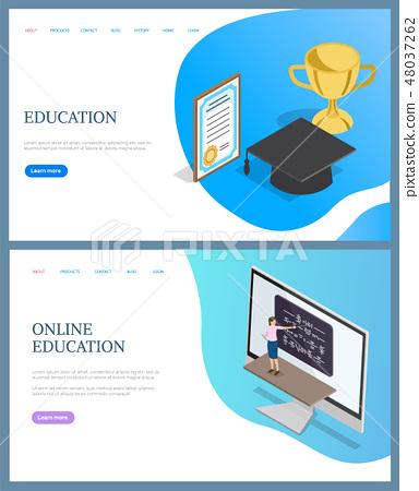 Online Education, Rewards of Graduating Vector 48037262
