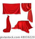 Red Silk Cloth Set Vector. Fabric Cloth Waving Shape. For Presentation. Banner, Stage, Cloak 48039220