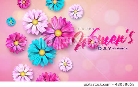 8 March. Happy Womens Day Floral Greeting card. International Holiday Illustration with Flower 48039658