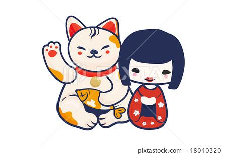 Anime Manga styled vector illustration: kawaii japanese teen girl and maneki neko lucky cat isolated 48040320