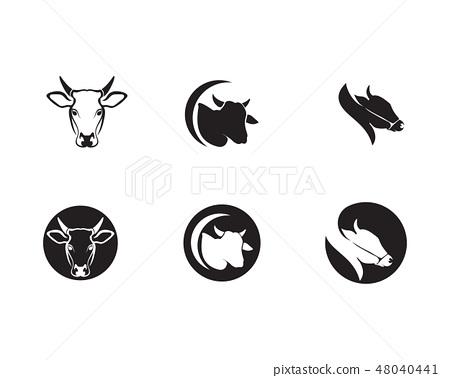 Cow head  logo template vector 48040441