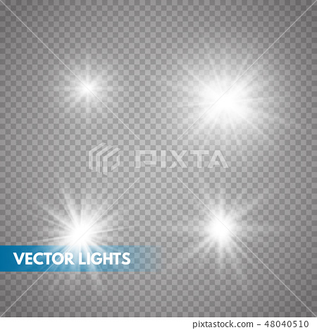 Set of Glowing Light Stars  48040510