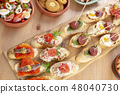 Tapas. Variety of snacks. Top view 48040730