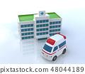 CG 3D 일러스트 입체 디자인 자동차 구급차 의료 병원 보험 부상 질병 긴급 구명 입원 48044189