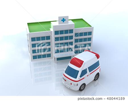 CG 3D插圖立體設計汽車汽車緊急醫療醫院保險傷害病急救救生住院 48044189