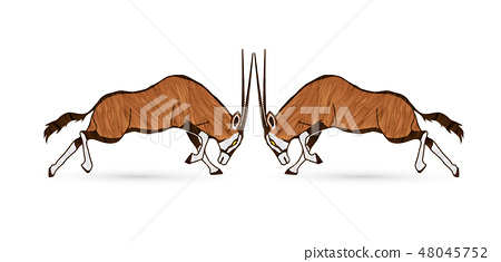 2 Oryx jumping to battle graphic vector 48045752