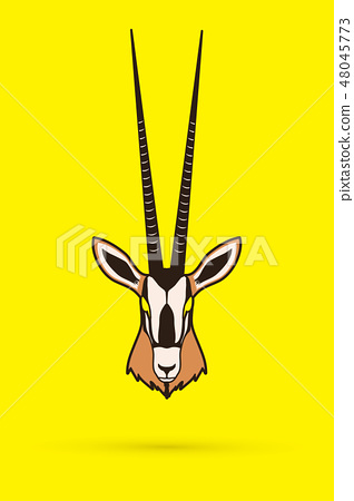 Oryx head with long horn graphic vector 48045773