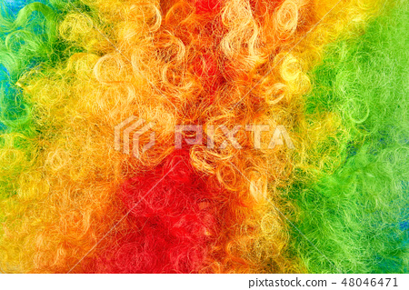 Close up photo of colorful hair. 48046471