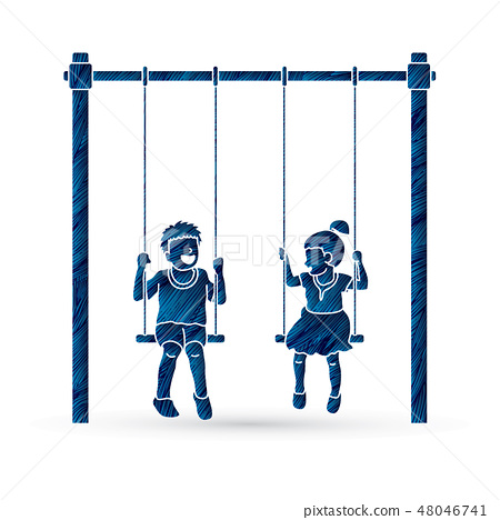 Little boy and girl are playing swing together 48046741