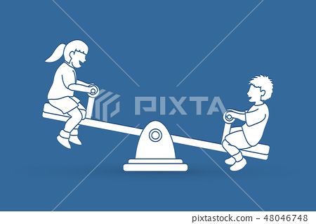 Little boy and girl are playing seesaw together. 48046748