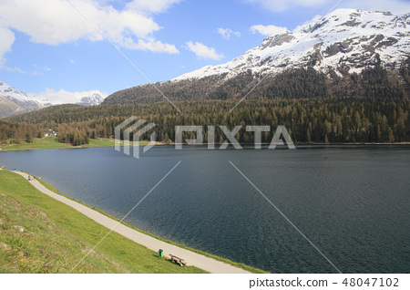 alpine landscape at Saint Moritz, Switzerland 48047102