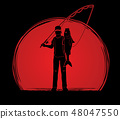 Fisherman standing and show big fish vector 48047550