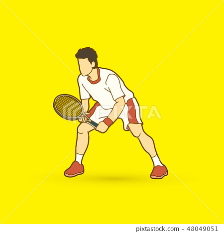 Tennis player action , Man play tennis vector 48049051