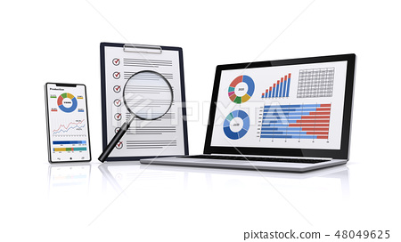 비즈니스 자료를 확대경으로 검색 48049625