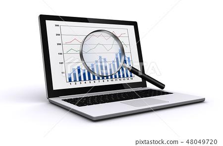 筆記本電腦和放大鏡 48049720