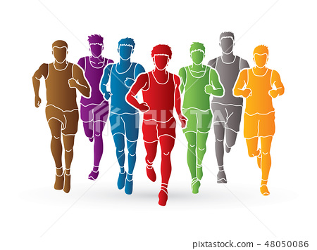 Marathon runners, Group of people running, Men run 48050086