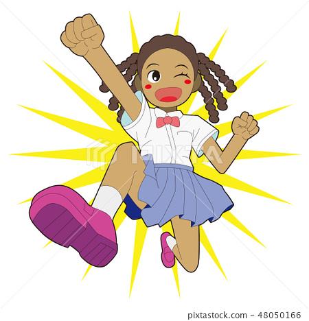 건강하게 뛰어 흑인 소녀 A black girl to jump 48050166