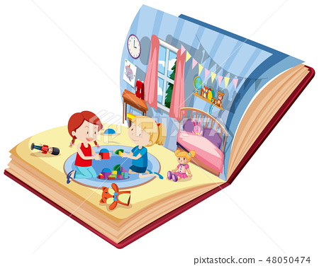 Girls playing in bedroom on the book 48050474