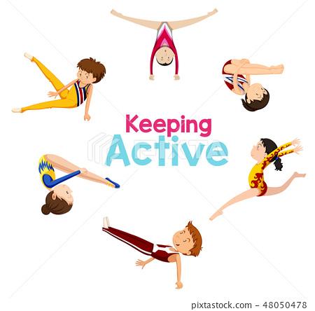 Keeping active logo with gymnastics athlete 48050478