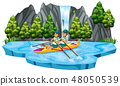 Man canoeing in the lake 48050539