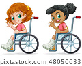 Set of girls on wheelchair 48050633