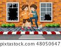 Street boy fighting in town 48050647