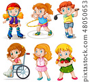 Set of chubby kids character 48050653