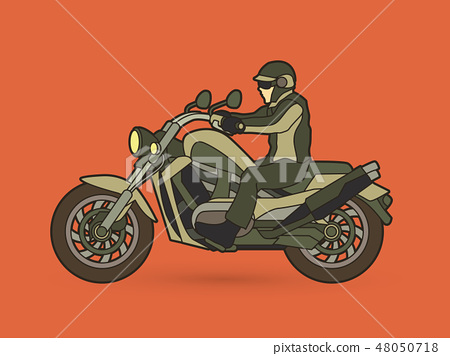 A man riding motorbike graphic vector 48050718