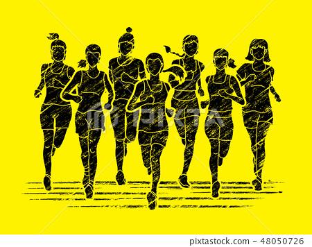 Group of women running, Marathon runners 48050726