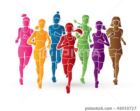 Group of women running, Marathon runners 48050727