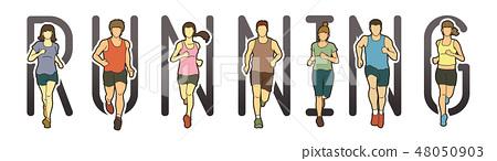 Running text font design, Marathon runners mix 48050903