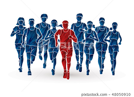 Marathon runners, Group of people running  48050910