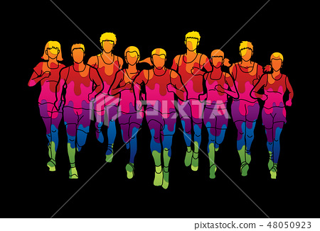 Marathon runners, Group of people running mix 48050923