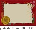 日本样式框架背景材料樱桃树红色 48051310