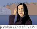 Cartoon illustration of a handsome young woman 48051353