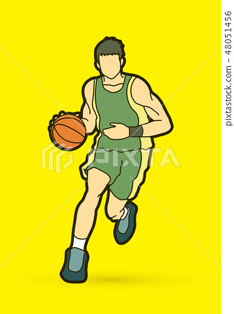 Basketball player running graphic vector 48051456