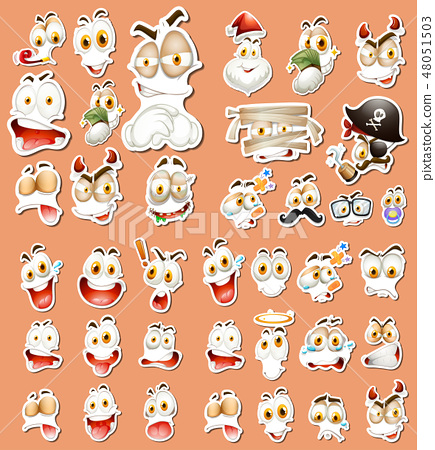 Set of different facial expression sticker 48051503