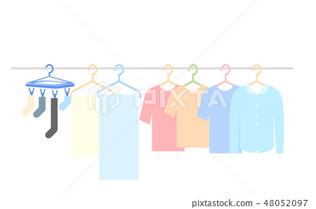 Illustration of laundry on a clothespin 48052097