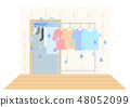 Indoor hanging illustration of laundry moisture 48052099