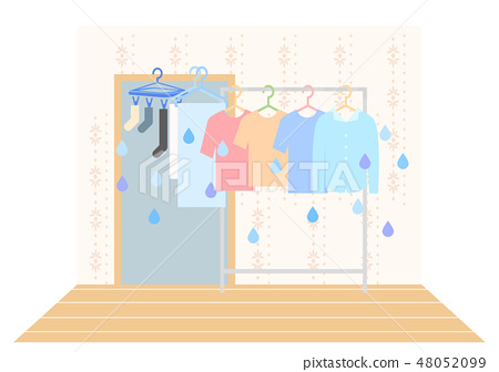 Indoor hanging illustration of laundry moisture 48052099