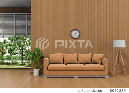 Interior living room and park landscape 48052889