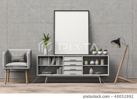 3D render of living Room mockup blank poster. 48052892