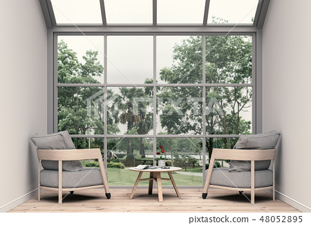 Interior living room and park landscape 48052895