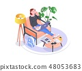 Entrepreneur woman wearing black blouse working with a laptop sitting on an armchair at home 48053683
